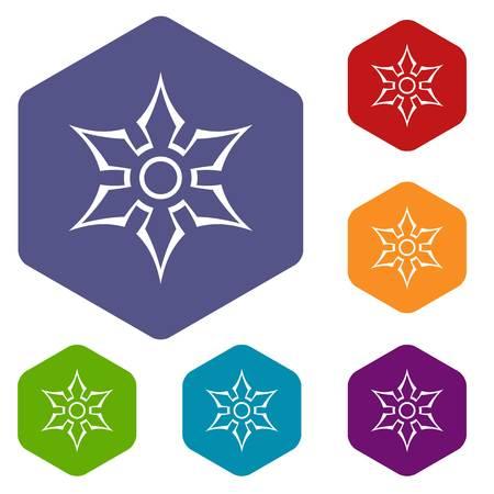 Ninja shuriken star weapon icons set hexagon Illustration