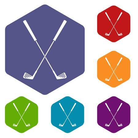 Two golf clubs icons set hexagon