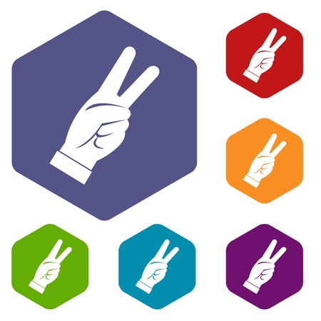 raise the thumb: Hand showing victory sign icons set hexagon