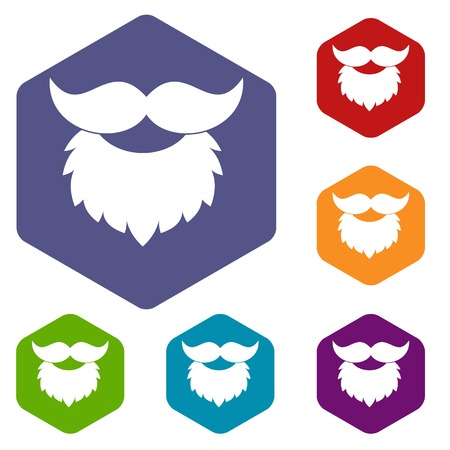 17th of march: Beard and mustache icons set hexagon.