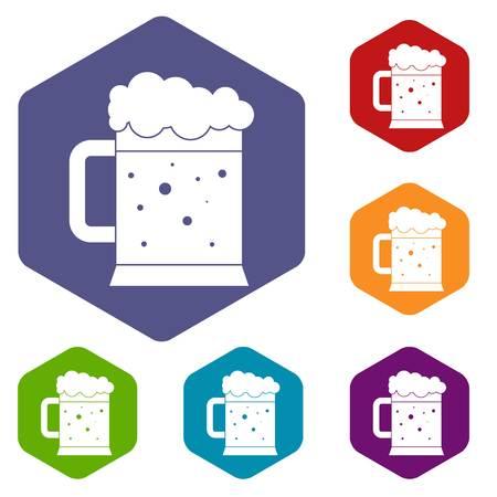 lucky clover: Beer mug icons set hexagon.