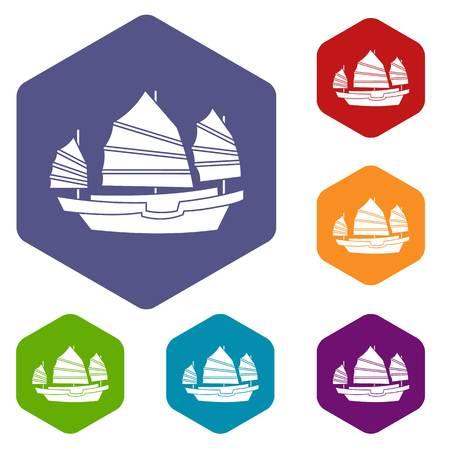 hong kong harbour: Junk boat icons set hexagon.