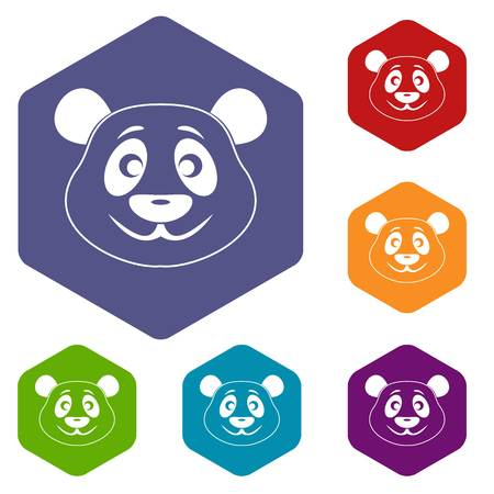 endanger: Panda icons set hexagon.