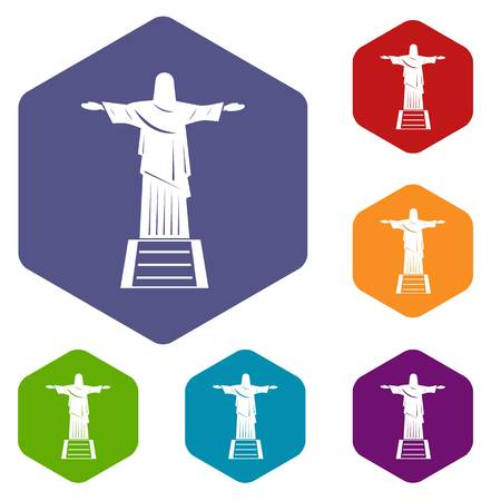 cristo: The Christ the Redeemer statue icons set hexagon. Illustration