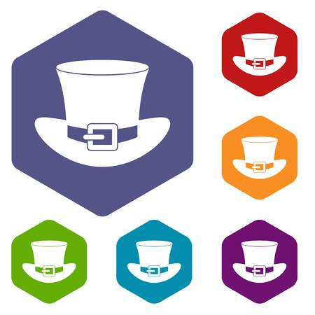 patrick: Top hat with buckle icons set hexagon