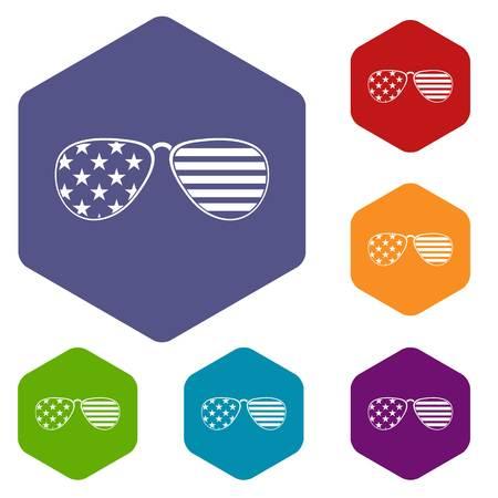 incognito: American glasses icons set hexagon
