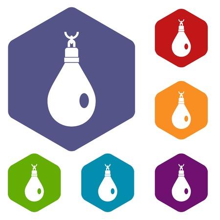 earrings: Crystal pendant icons set hexagon