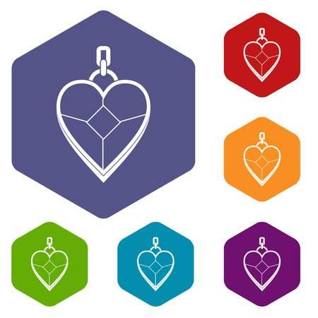 Heart shaped pendant icons set hexagon Ilustrace