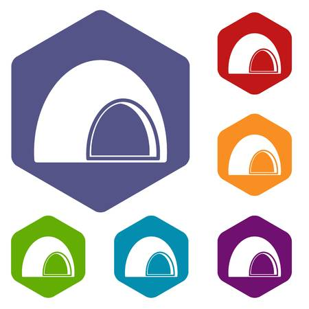 Souffle icons set hexagon Illustration
