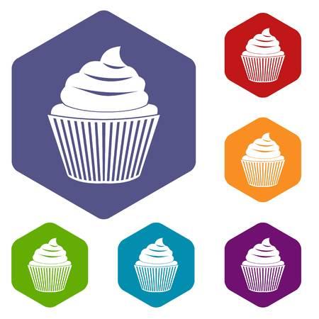 Cupcake icons set hexagon