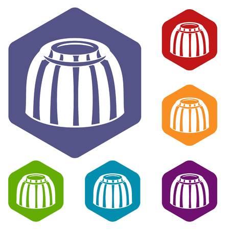 Fruit jelly icons set hexagon