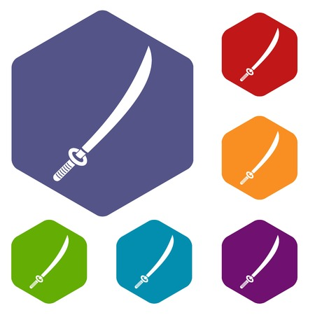 Katana icons set hexagon