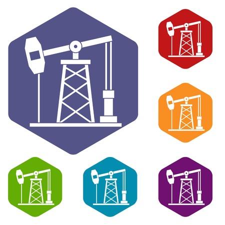 Oil derrick icons set hexagon Illustration