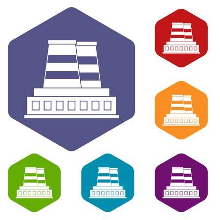 Manufacturing plant icons set hexagon Illustration