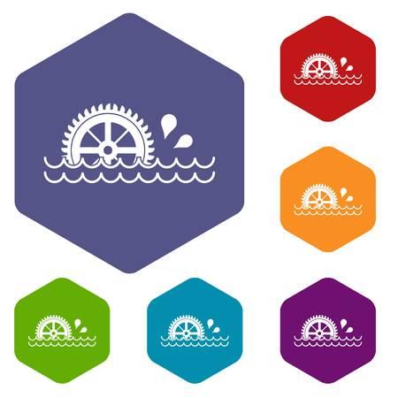 watermill: Waterwheel icons set hexagon Illustration