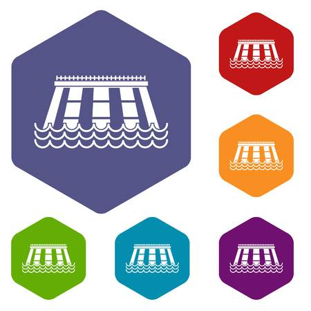 Hydroelectric power station icons set hexagon