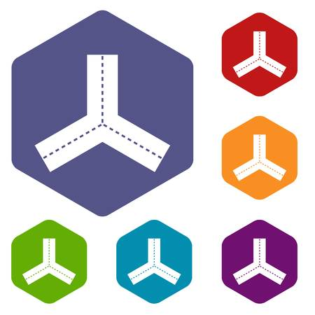 Three roads icons set hexagon