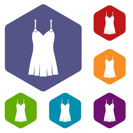 Nightdress icons set hexagon