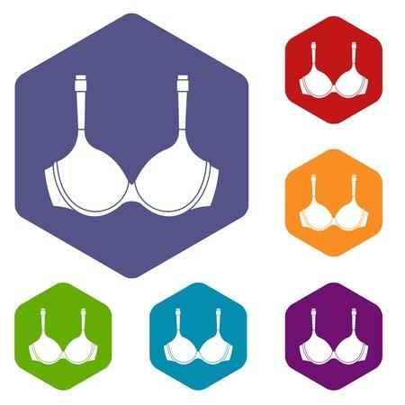 Lingerie icons set hexagon