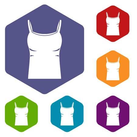 Blank women tank top icons set hexagon