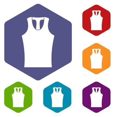 Sleeveless shirt icons set hexagon