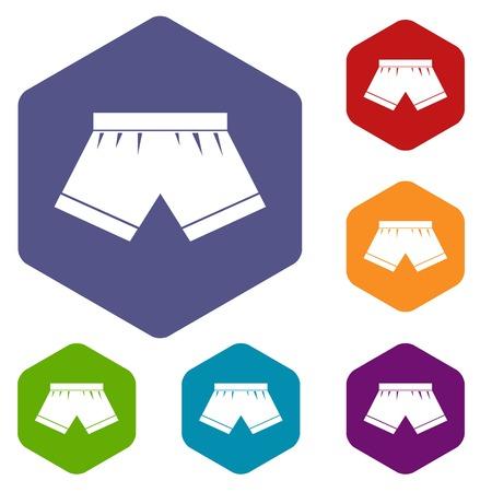 waistband: Male underwear icons set hexagon