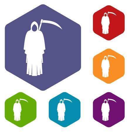 Death with scythe icons set hexagon