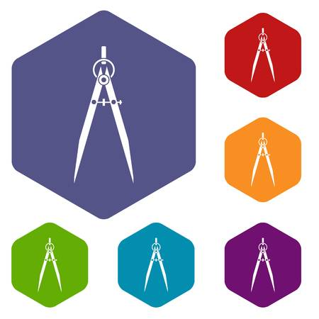 Compass for drawing and delineation icons set