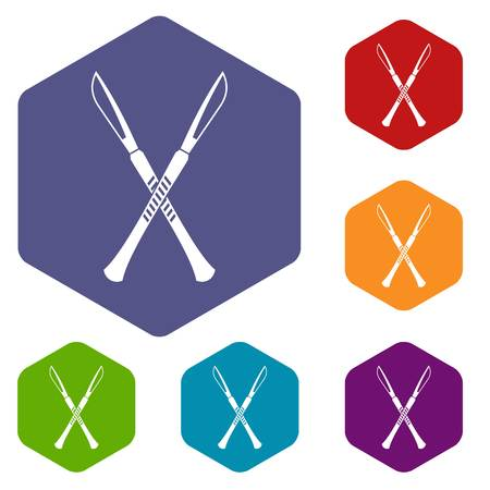 Surgeon scalpels icons set hexagon