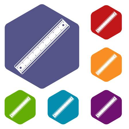 Ruler icons set hexagon Illustration