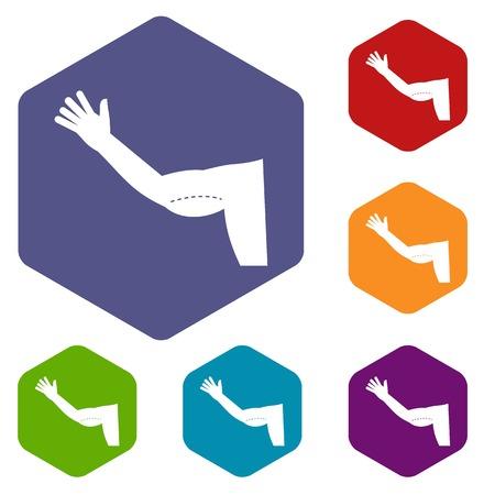 chirurgo: Icone di correzione cosmetica del braccio flaccido impostare esagono