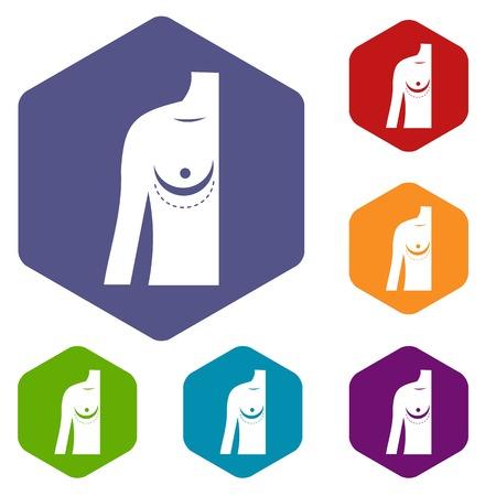 breast implant: Breast implant surgery. icons set hexagon Illustration