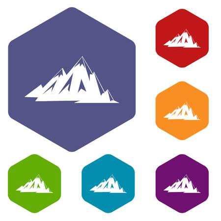 Canadian mountains icons set hexagon isolated vector illustration
