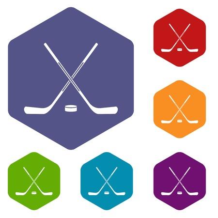 Ice hockey sticks icons set hexagon isolated vector illustration