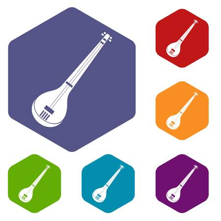 Indian guitar icons set hexagon isolated vector illustration Illustration