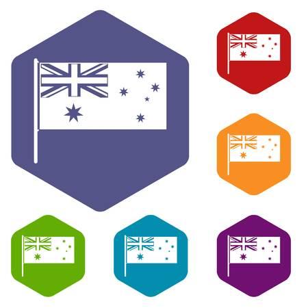 호주 국기 아이콘 육각형이 고립 된 벡터 일러스트를 설정