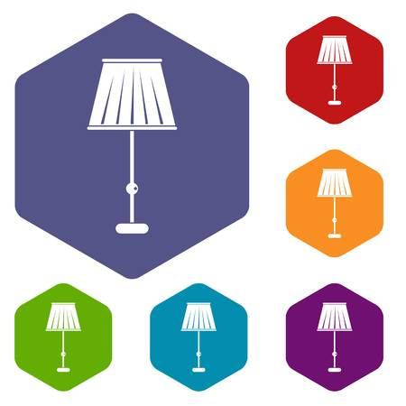 Floor lamp icons set hexagon isolated vector illustration