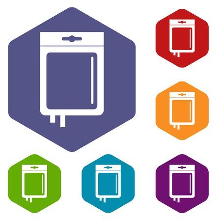 Blood transfusion icons set hexagon isolated vector illustration