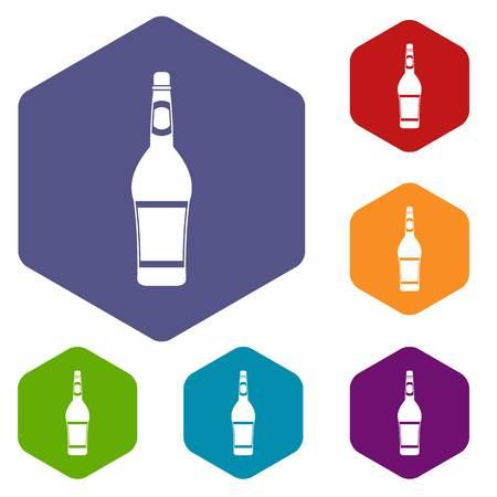 Design bottle icons set hexagon isolated vector illustration Illustration