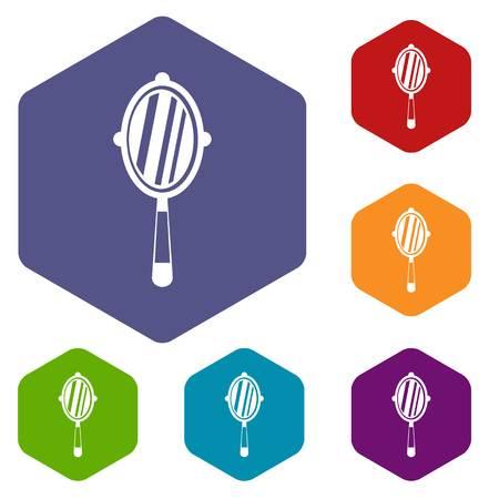 Hand mirror icons set hexagon isolated vector illustration