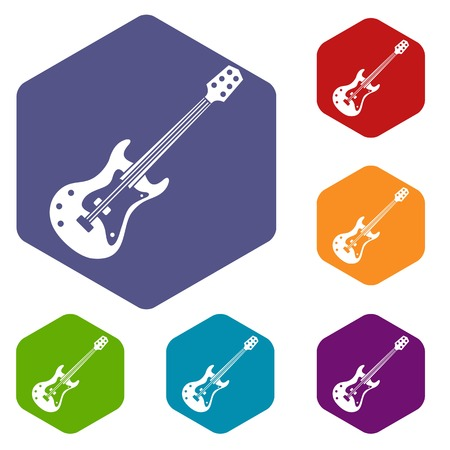 rosewood: Classical electric guitar icons set hexagon isolated vector illustration Illustration