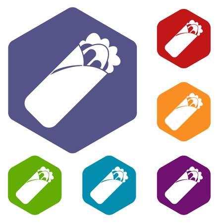 Shawarma sandwich icons set hexagon isolated vector illustration
