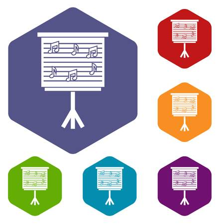 musical score: Whiteboard with music notes icons set hexagon isolated vector illustration Illustration