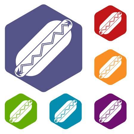 Bun and sausage icons set hexagon isolated vector illustration Illustration