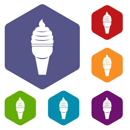 Ice cream in waffle cone icons set hexagon isolated vector illustration