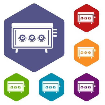 CD changer icons set hexagon isolated vector illustration
