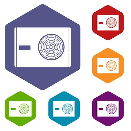 Outdoor compressor of air conditioner icons set hexagon isolated vector illustration