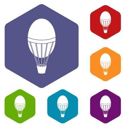 Hot air balloon icons set hexagon isolated vector illustration Illustration