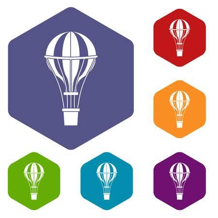 Air balloon journey icons set hexagon isolated vector illustration