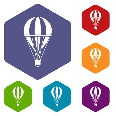 Hot air striped balloon icons set hexagon isolated vector illustration